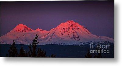 Morning Dawn On Two Of Three Sisters Mountain Tops In Oregon Metal Print
