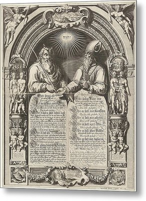 Moses And Aaron With The Tablets Of The Law Metal Print by Simon Frisius And Gerard Valck