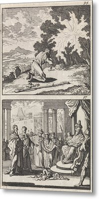 Moses At The Burning Bush, Moses And Aaron Metal Print by Caspar Luyken And Barent Visscher And Andries Van Damme