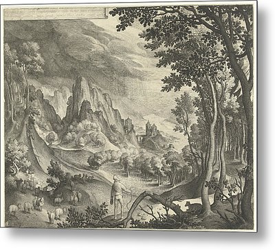 Moses Is Addressed By God On Mount Horeb Metal Print by Nicolaes De Bruyn