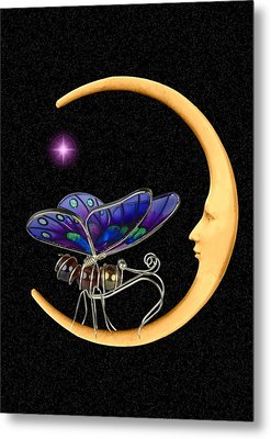 Moth On Moon Metal Print