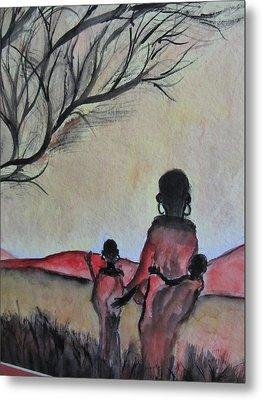 Mother And Children Walking In Kenya Metal Print