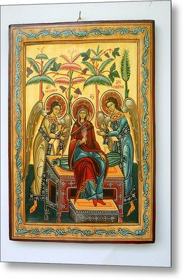 Mother Of God In Heaven With The Archangels Hand Painted Holy Orthodox Wooden Icon Metal Print by Denise Clemenco