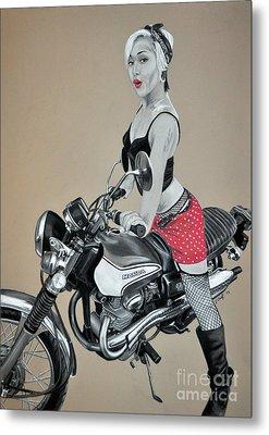 Motorcycle Pin Up Metal Print