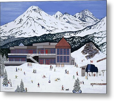 Metal Print featuring the painting Mount Bachelor by Jennifer Lake