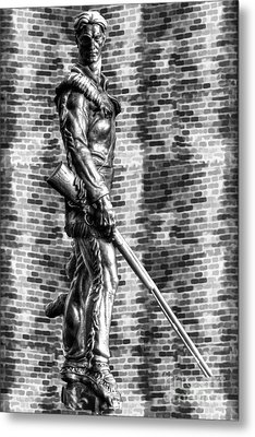 Mountaineer Statue Bw Brick Background Metal Print by Dan Friend
