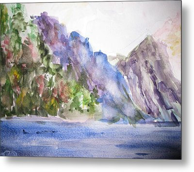 Mountains By The Sea Metal Print