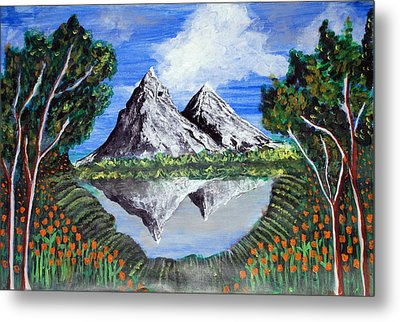 Mountains On A Lake Metal Print