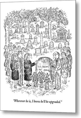 Mourners Stand Around A Gravestone Metal Print by Edward Koren