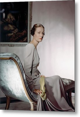 Mrs. Cameron Clark Sitting On A Chaise Lounge Metal Print