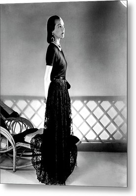 Mrs. Carroll Carstairs Wearing A Lace Skirt Metal Print