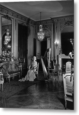 Mrs. Cornelius Sitting In A Lavish Music Room Metal Print by Cecil Beaton