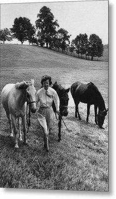 Mrs John West On Her Farm At Malvern Metal Print
