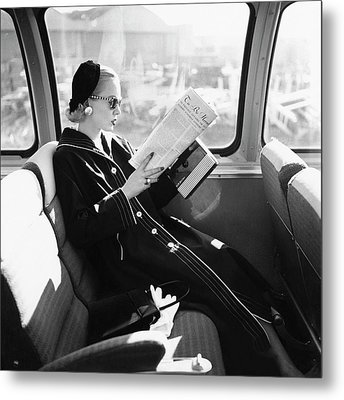 Mrs. William Mcmanus Reading On A Train Metal Print