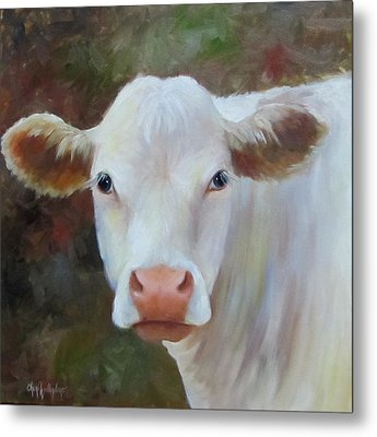 Metal Print featuring the painting Ms Petunia by Cheri Wollenberg