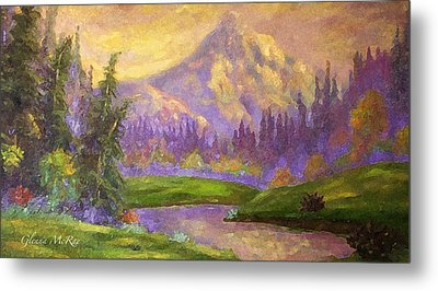 Mt. Hood At Dawn's Early Light Metal Print by Glenna McRae