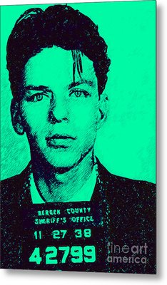 Mugshot Frank Sinatra V1m128 Metal Print by Wingsdomain Art and Photography