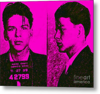 Mugshot Frank Sinatra V2m80 Metal Print by Wingsdomain Art and Photography