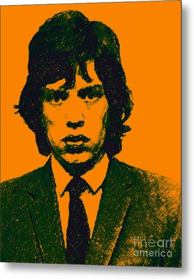 Mugshot Mick Jagger P0 Metal Print by Wingsdomain Art and Photography