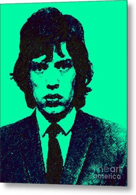 Mugshot Mick Jagger P128 Metal Print by Wingsdomain Art and Photography