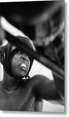 Muhammad Ali Looking Sideway Through Rope Metal Print by Retro Images Archive