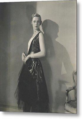 Muriel Finley Wearing A Dress By Frances Clyne Metal Print