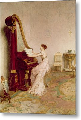 Music When Soft Voices Die, Vibrates Metal Print by Sir William Quiller Orchardson