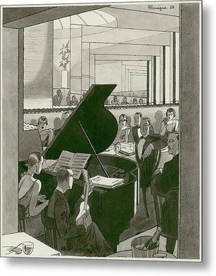 Musicians Entertain Patrons Metal Print