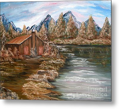 My Cabin By The Lake Metal Print
