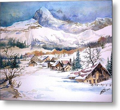 My First Snow Scene Metal Print by Alban Dizdari