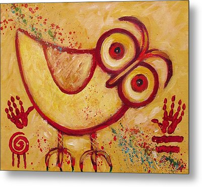 My Red Primitive Owl Metal Print by Carol Suzanne Niebuhr