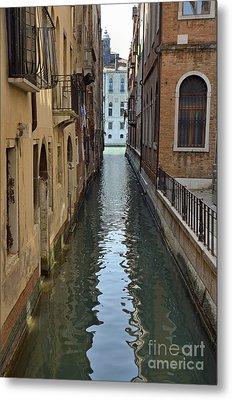 Narrow Canal In Venice Metal Print by Sami Sarkis