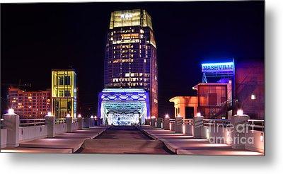 Nashville Sight Night Skyline Pinnacle Panorama Color Metal Print