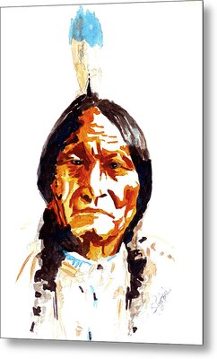 Metal Print featuring the painting Native American Indian by Steven Ponsford