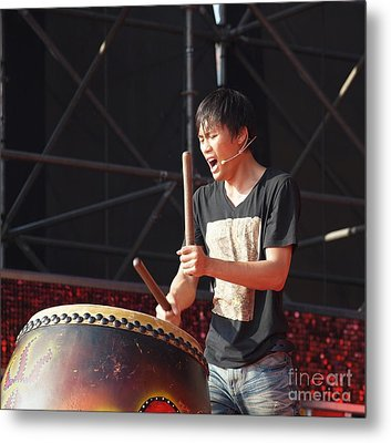 Native Drummer Performs In Taiwan Metal Print by Yali Shi