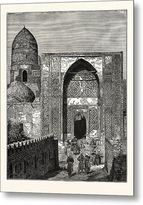 Native Police At The Gate Of The Mosque Of Shah Zindeh Metal Print by English School