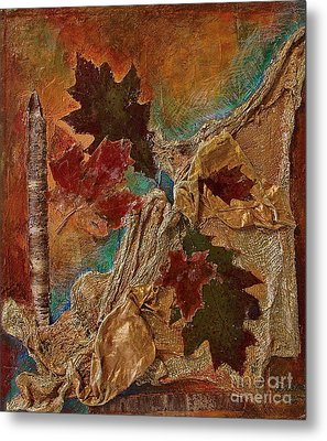 Metal Print featuring the mixed media Natural Rythmes - Earth Colors  by Delona Seserman