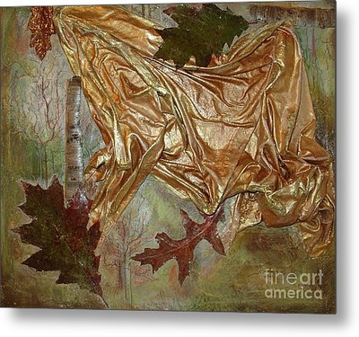 Metal Print featuring the mixed media Natural Rythmes - Green Tones by Delona Seserman