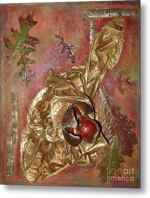 Metal Print featuring the mixed media Natural Rythmes - Red Tones  by Delona Seserman