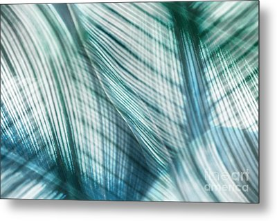 Nature Leaves Abstract In Turquoise And Jade Metal Print by Natalie Kinnear