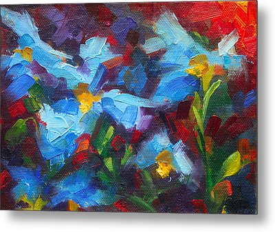 Nature's Palette - Himalayan Blue Poppy Oil Painting Meconopsis Betonicifoliae Metal Print by Talya Johnson
