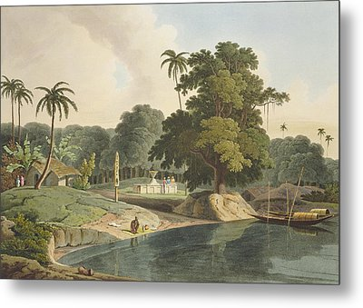 Near Bandell On The River Hoogly, Plate Metal Print by Thomas & William Daniell