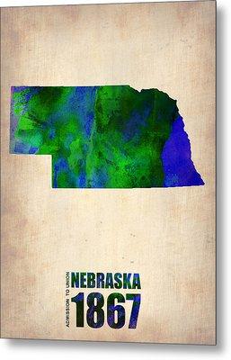 Nebraska Watercolor Map Metal Print by Naxart Studio