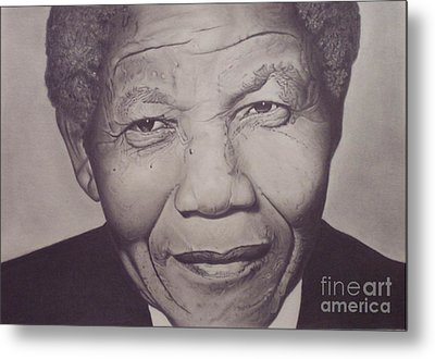Nelson Mandela Metal Print by Wil Golden