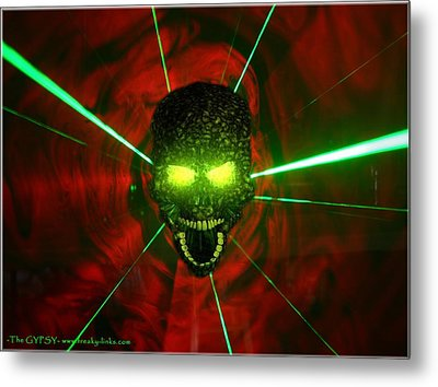 Neon Skull Metal Print by The GYPSY And DEBBIE