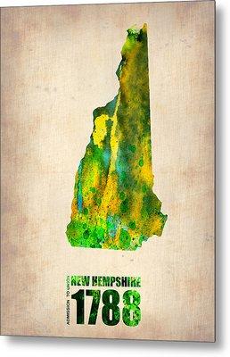 New Hampshire Watercolor Map Metal Print by Naxart Studio