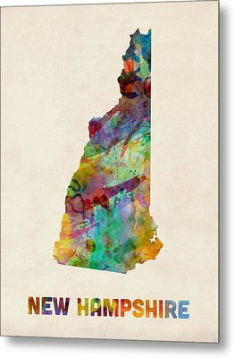 New Hampshire Watercolor Map Metal Print by Michael Tompsett
