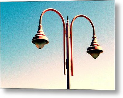 Metal Print featuring the digital art Beach Lamp Post by Valerie Reeves
