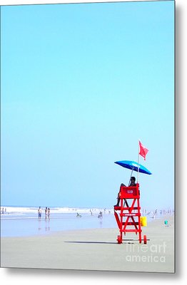 Metal Print featuring the digital art New Smyrna Lifeguard by Valerie Reeves