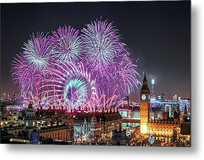 New Year Fireworks Metal Print by Stewart Marsden